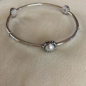 Brighton Silver and faux pearl bracelet